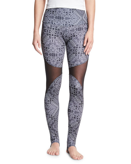 Onzie Ring-Print High-Rise Stirrup Leggings, Black/White
