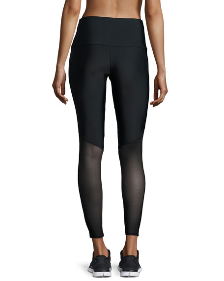 Fierce Mesh-Stripe Leggings, Black