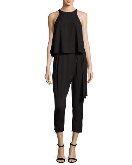 Halston Heritage Sleeveless High-Neck Flounce Jumpsuit w/ Sash,