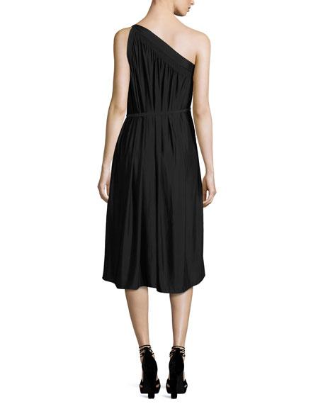 Rania One-Shoulder Belted Midi Dress, Black