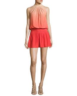 Paris Sleeveless Ombre Mini Dress, Spring Red/Nude