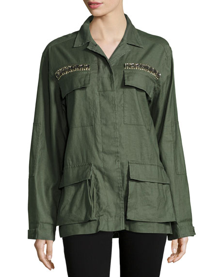 James Embellished Utility Shirt Jacket, Sage