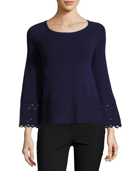 Diana Laser-Cut Long-Sleeve Top, Navy