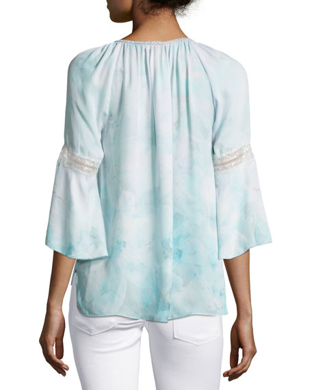 Lucile 3/4-Sleeve Tassel-Neck Silk Blouse, Light Blue