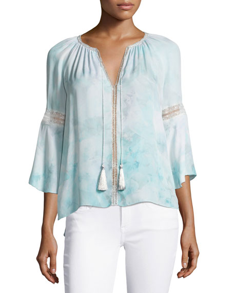 Elie Tahari Lucile 3/4-Sleeve Tassel-Neck Silk Blouse, Light
