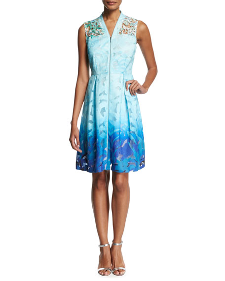 Kalli Sleeveless Zip-Front Ombre Lace Dress, Light Blue