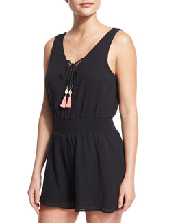 Lace-Up Cotton Gauze Romper with Tassel Ties, Black