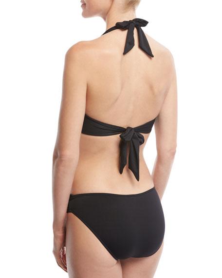 Twist-Front Halter Swim Top, Black