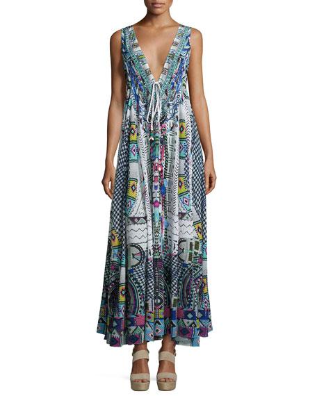 Embellished Crepe V-Neck Maxi Coverup Dress, Maasai Mosh
