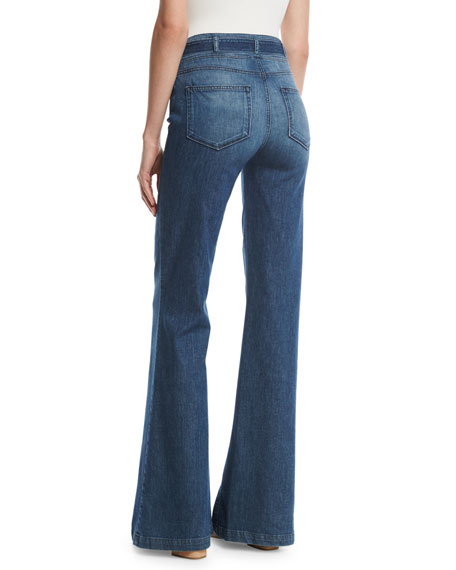 Chandler Belted High-Rise Flare-Leg Jeans, Indigo