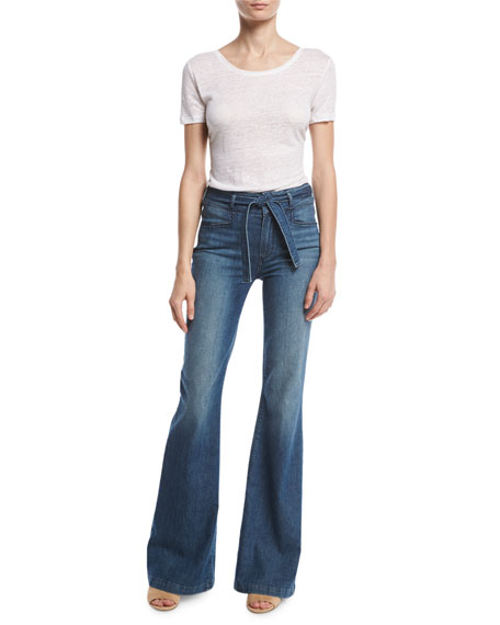 Chandler Belted High-Rise Flare-Leg Jeans, Indigo