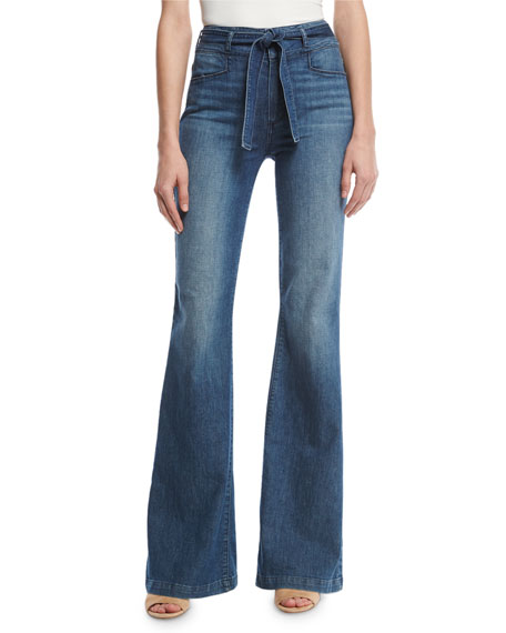 Paige Chandler Belted High-Rise Flare-Leg Jeans, Indigo