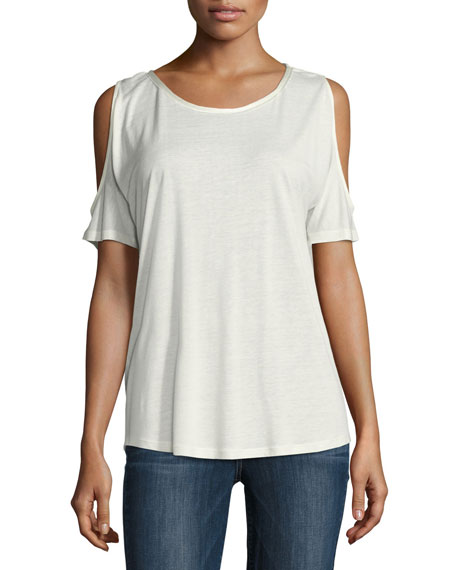 Alessa Cold-Shoulder Tee, White