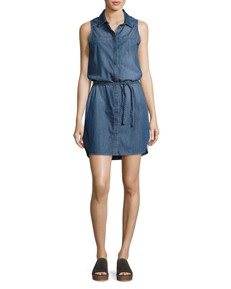 PAIGE Eugenie Sleeveless Belted Chambray Shirtdress, Crispin