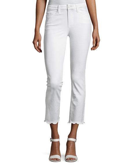 Jacqueline Cropped Straight-Leg Jeans W/ Scallop Hem, White