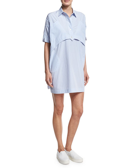 Opening Ceremony Short-Sleeve Striped Poplin Shirtdress, Light