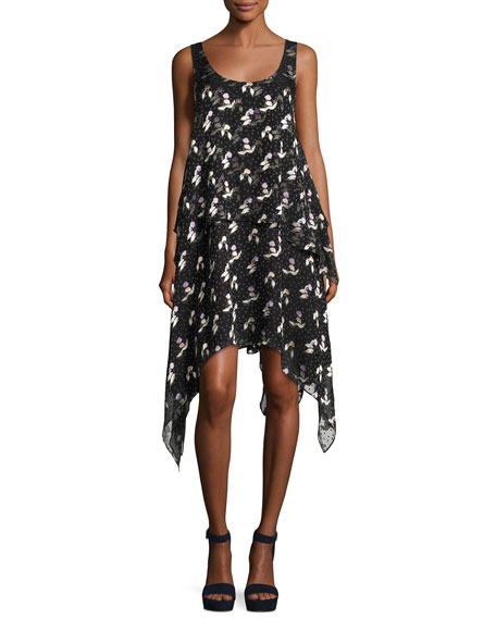 Gestures Floral Burnout Handkerchief Dress, Black
