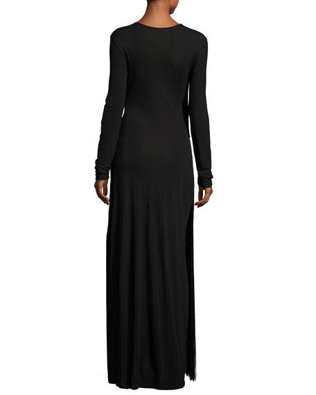 Long-Sleeve Fringe Jersey Maxi Dress, Black