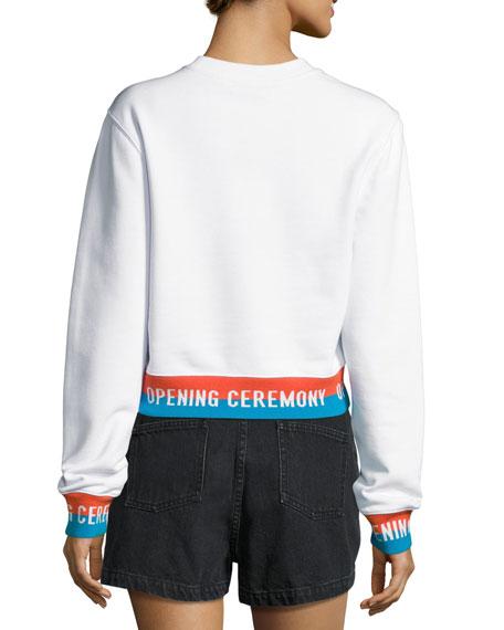 Crewneck Jersey Elastic-Logo Pullover Sweatshirt, White