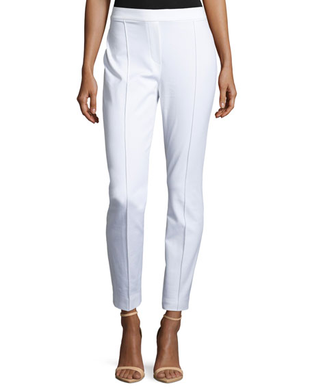 Gia Straight-Leg Ankle Pants, White