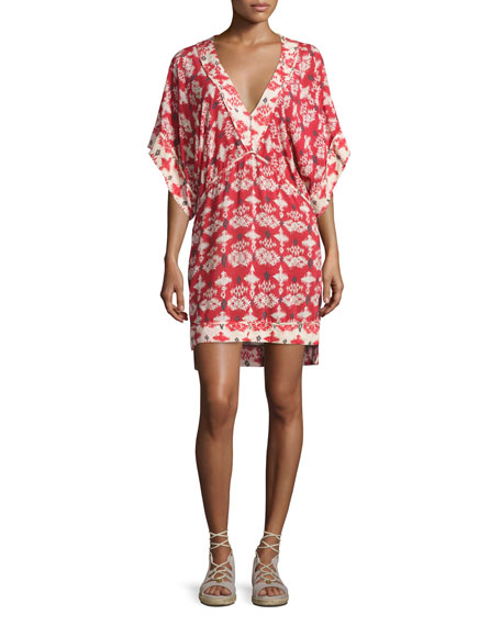 Michelle Kali Ikat-Print Tunic Coverup, Red/White
