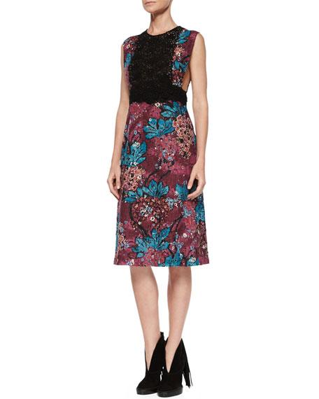Sleeveless Layered-Lace Dress, Elderberry