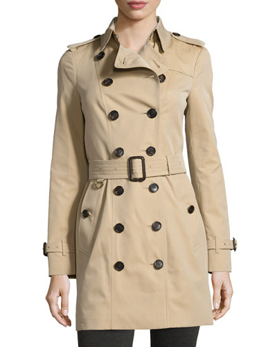 Sandringham Mid-Length Woven Trenchcoat, Honey