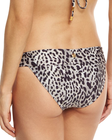 Bia Deva Leopard-Print Full Swim Bottom, Gray