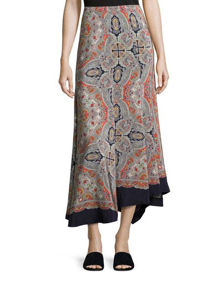 Bitrah Premont Paisley-Print Silk Maxi Skirt, Multicolor