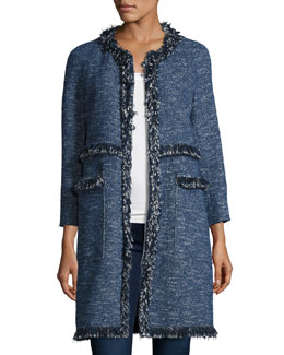 Zarafilla Tweed Zip-Front Coat with Fringe Trim, Blue