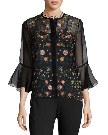 Elie Tahari Rienna Bell-Sleeve Embroidered Sheer Blouse, Black