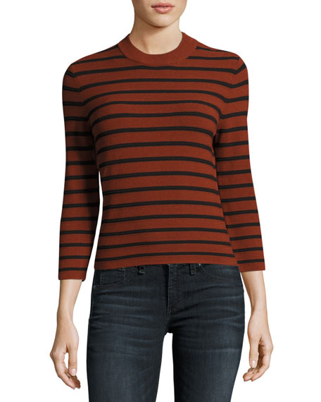 Lemdora Prosecco Striped Sweater, Red