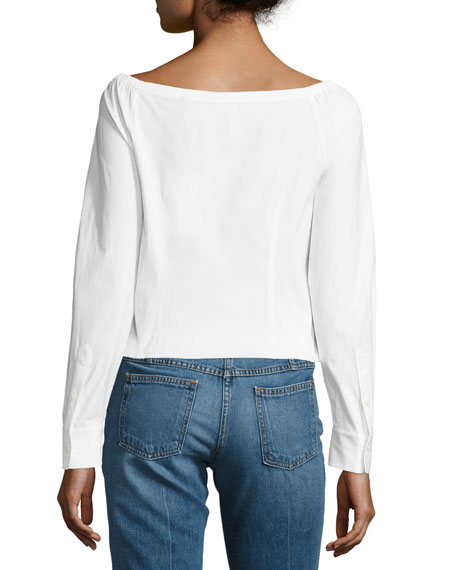 Auriana Stretch-Cotton Off-the-Shoulder Top, White