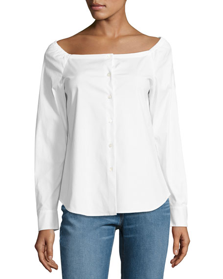 Theory Auriana Stretch-Cotton Off-the-Shoulder Top, White