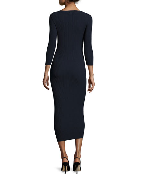 Delissa C Prosecco Ribbed Midi Dress, Blue