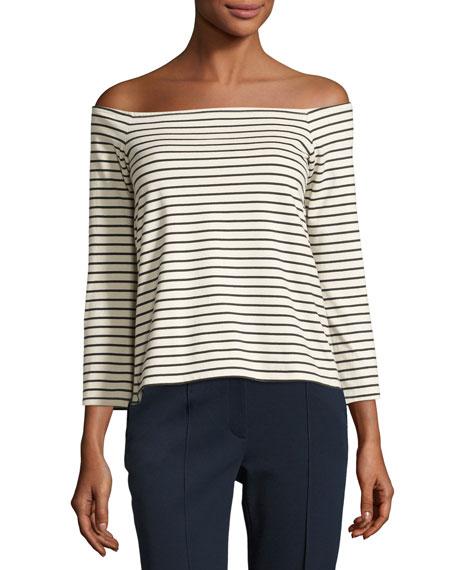 Aprine K Classic Stripe Off-the-Shoulder Top, White