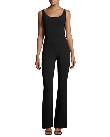 Norette Sleeveless Flare-Leg Jersey Jumpsuit, Black