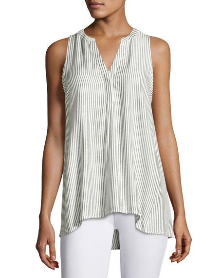 Carley B Sleeveless Striped Top, White