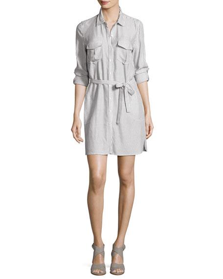 Willa B Striped Belted Shirtdress, White