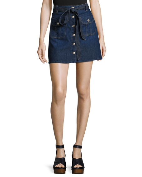 7 For All Mankind A-Line Button-Front Denim Miniskirt,