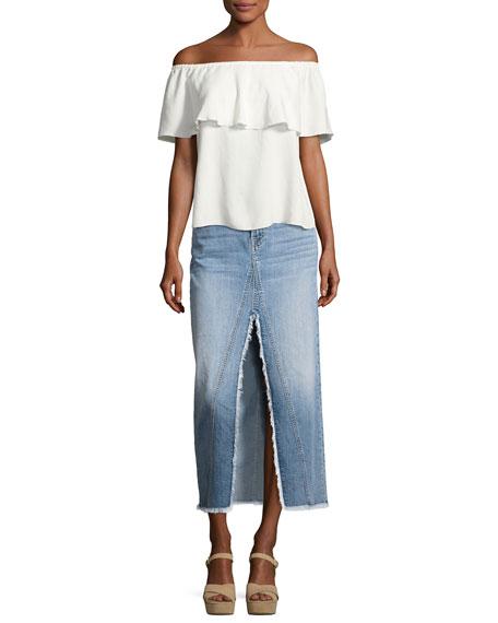 7 for all mankind denim skirt with front slit indigo