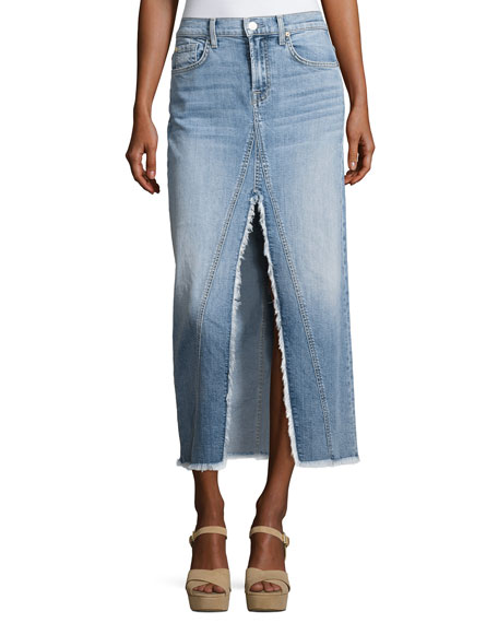 7 For All Mankind Long Denim Skirt with