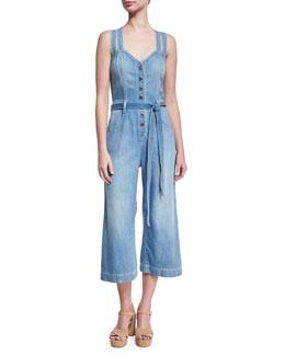 Button-Front Sleeveless Cropped Denim Jumpsuit, Indigo
