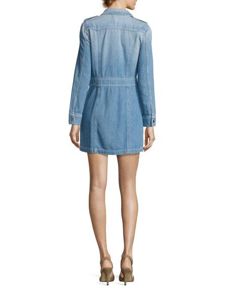 Button-Front Denim Shirtdress, Indigo