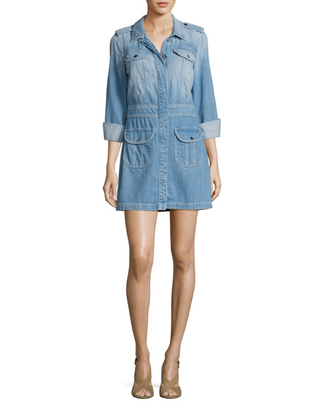 Button-Front Denim Shirtdress, Indigo