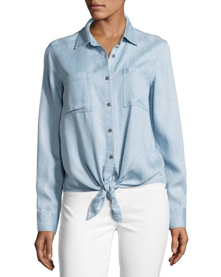 Tie-Front Denim Shirt