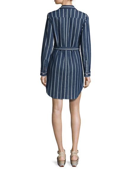 Striped Denim Belted Shirtdress, Indigo