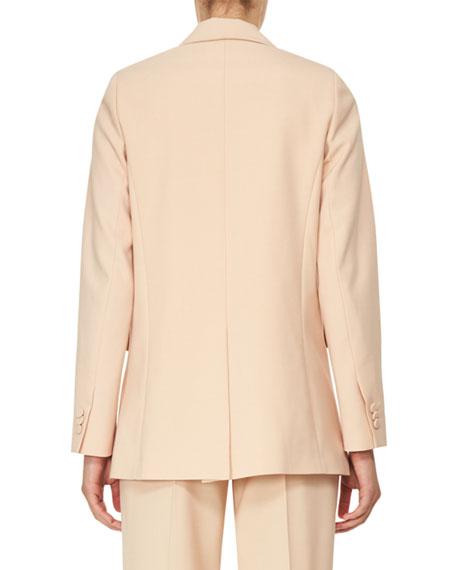 Double-Breasted Oversized Crepe Jacket, Beige