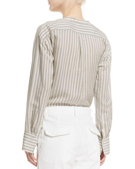Striped Half-Placket Silk Tunic