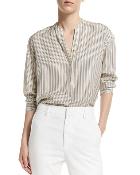 Striped Half-Placket Silk Tunic